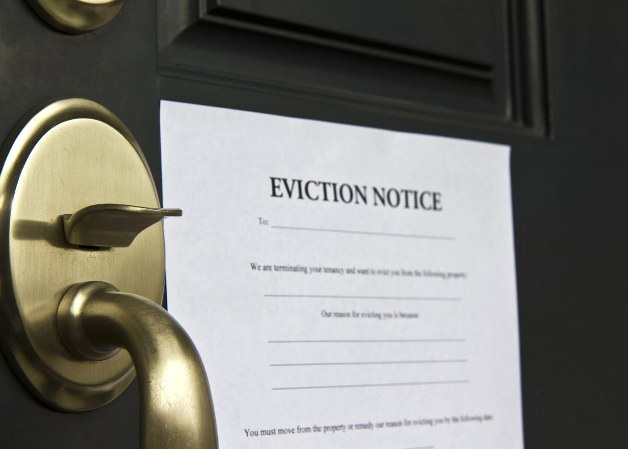 An eviction notice posted on a black door with a bronze door handle.