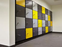 Changing room lockers re-surfaced with vinyl wrapping. Manchester area.