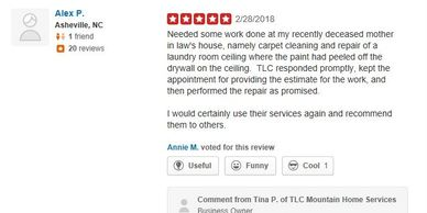 yelp review tlc mountain home services