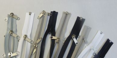 Tent zippers -  Awning zips -boat zips Heavy duty & medium weight. Open end-closed end-4 way panels