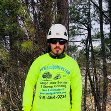 Bearded man wearing safety goggles, helmet, and yellow shirt standing in front of pine trees.