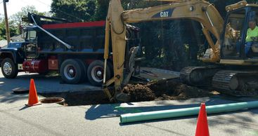 Sewer line hook up in West Boylston