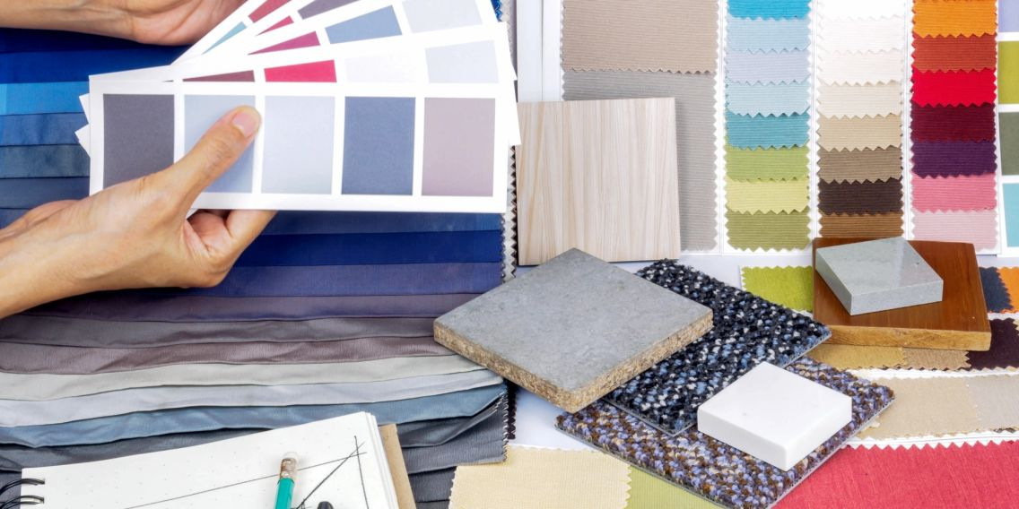 Selection of; Fabrics, Wood/Carpet Flooring, Countertops, Paint, Lighting, Furniture and Home Decor