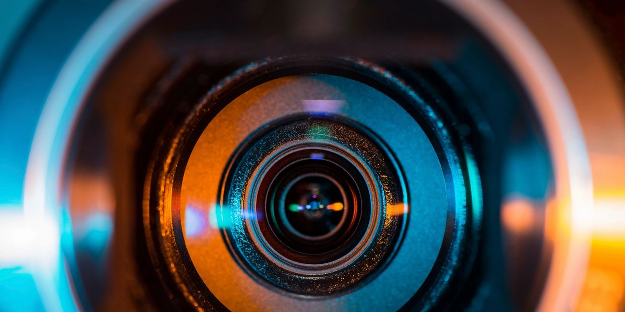 Front view of a video camera lens.