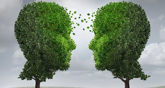TWO HEADS LOOKING AT EACH OTHER EXPLAINING WE CAN THINK TOGETHER TO MOVE FORWARD