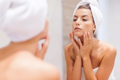 Apply your serum to a cleansed face, neck & chest with your finger tips , upward strokes.
