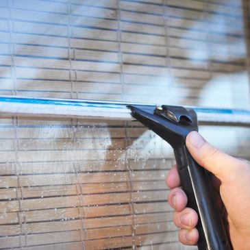 cleaning windows and frames.