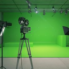 Access to multiple studios with Green and Blue Screens. We even have a portable Green Screen!