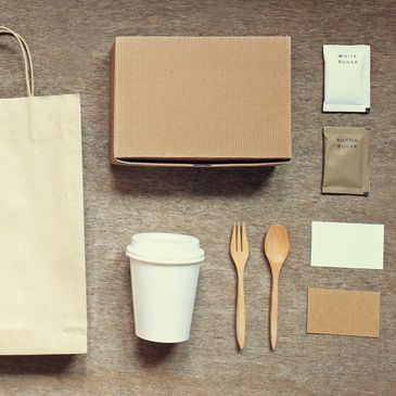 Brown paper bags for small artesian businesses with coffee cup