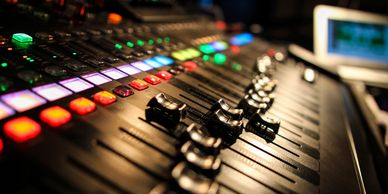 Music studio recording and mixing console