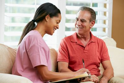 In-home consultation for home health care in The Woodlands, TX is being offered to an elderly man.