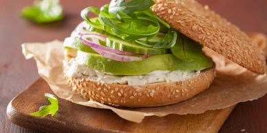 toasted, bagel, avocado, red onion, sprouts, morning, sesame, cream cheese, healthy, breakfast