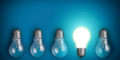 Innovation ideas stand out lightbulb