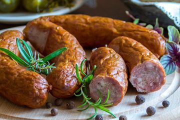 Appetizer Sausage Smoked BBQ Barbecue Barbeque