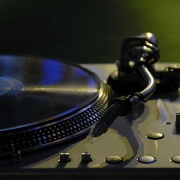 DJ Turntable in dark room