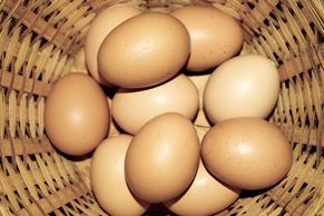 A basket of local eggs from our farm partners for our farm stand.