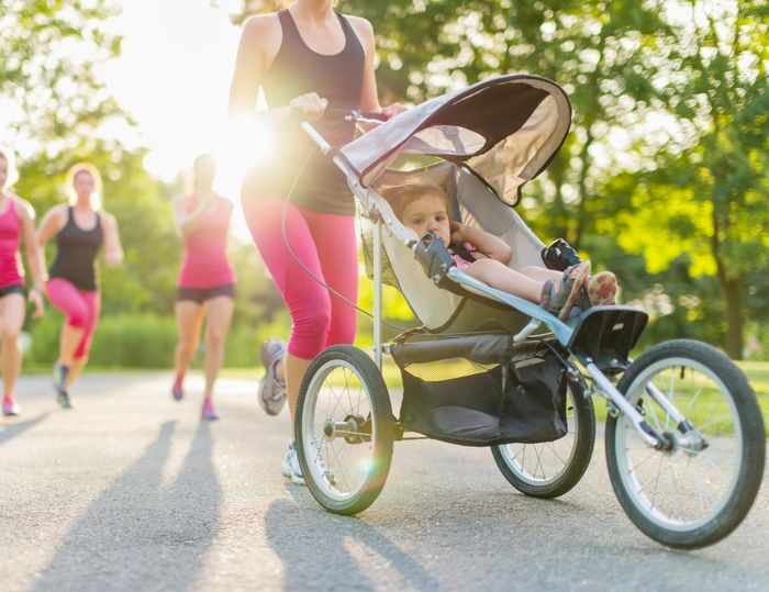 stroller jogging women running with stroller baby in stroller working out exercising fun strolling