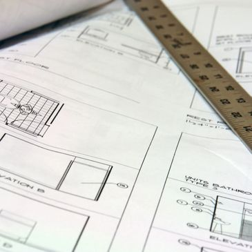 image of blue print drawing and ruler