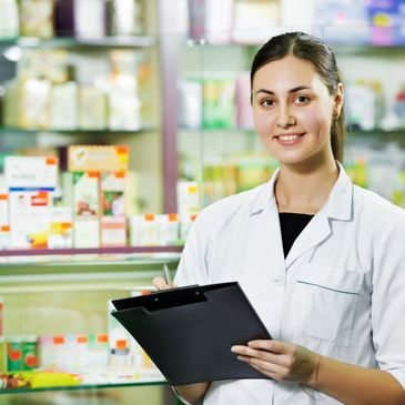 pharmacist helping patients, counselling , reviewing medicines, drug reaction, drug interaction.