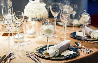 wedding reception table and place setting