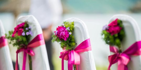 wedding flowers, guest chairs, flowers to decorate your wedding