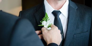 floral accent, men, boutonnieres, wedding,  peony