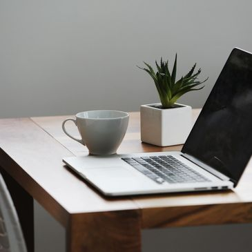 Laptop on table with coffee cup and plant.