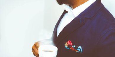 black business man suit cup blazer