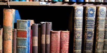 book shelf filled with old books