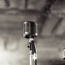 Black and white image of a microphone