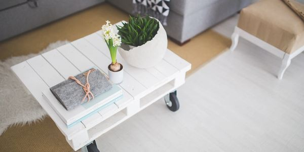 notebook and plants on a white coffee table