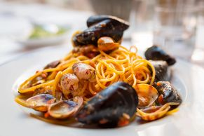 A plate of seafood pasta.