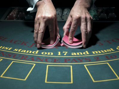 A typical Blackjack table, similar to what you'll find at the Online Casinos on this page.