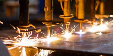 metal plate welding with sparks