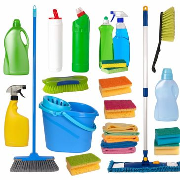 Variety of janitorial cleaning supplies