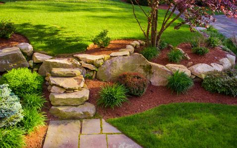 Stone stair landscaping ideas