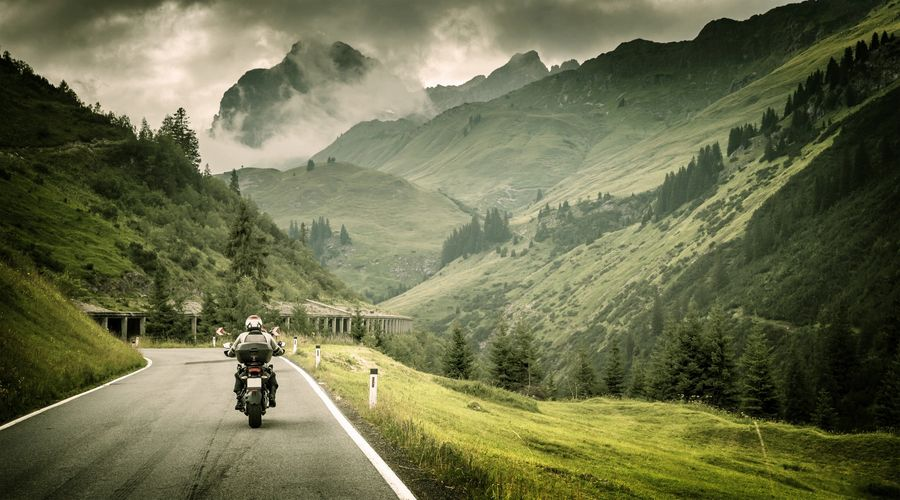 Motorcycle Rider on Road
