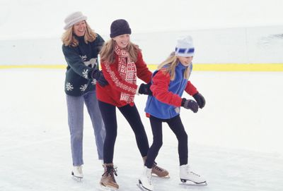 family at an ice rink