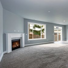Family room with fireplace.