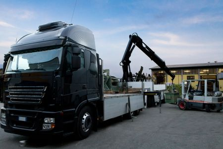 hiab, lorry loader unloading flat bed truck with forklift