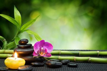 Using heated bamboo to work deep into the muscles, promoting total relaxation.