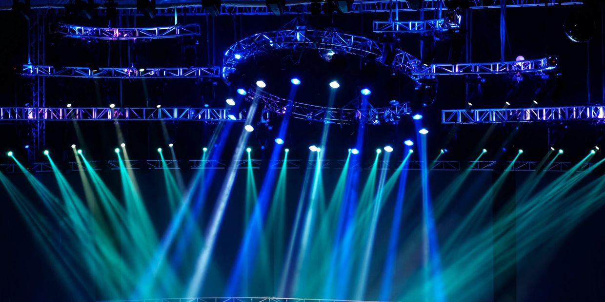 Lighting rig at a large stadium event or concert hall.