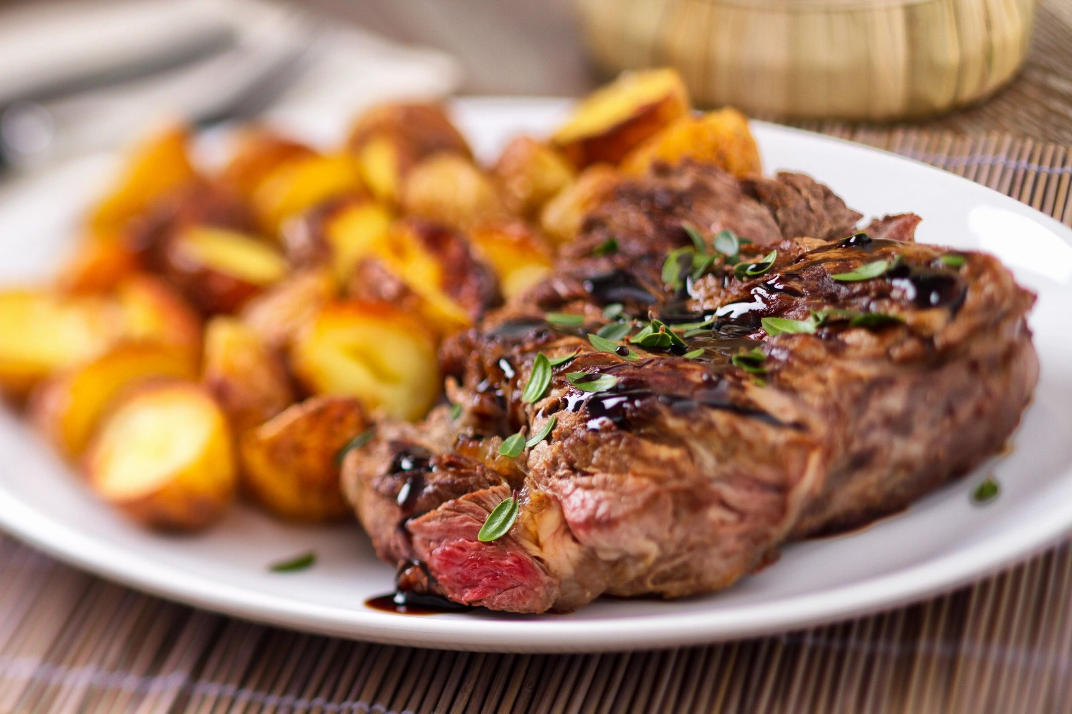 Dinner Catering: Ribeye steak and garlic butter potatoes.