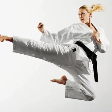 Demonstration of a Tae Kwon Do flying side kick.