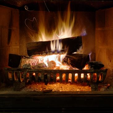 wood fireplace burning