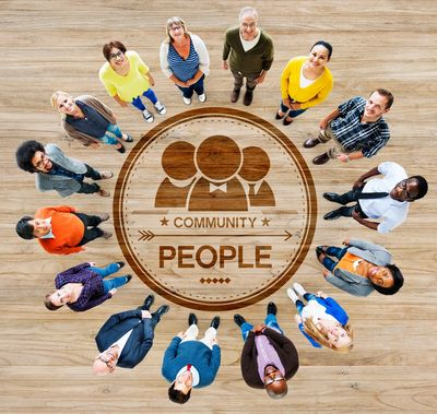 People standing in a circle learning small business education training business owners social media