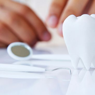 Close up of dental tools on a table.
