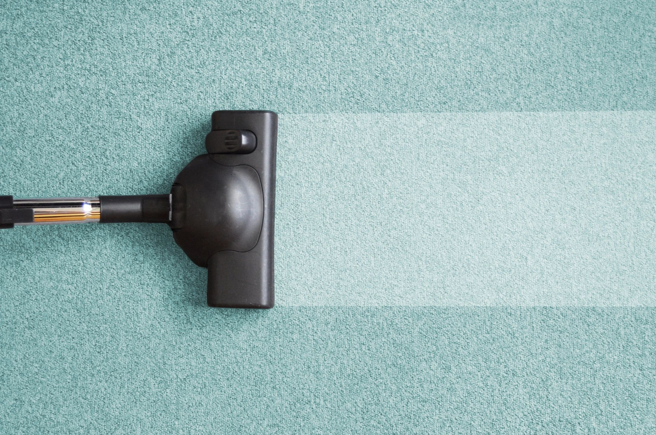 A black vacuum cleaning a blue and green carpet.