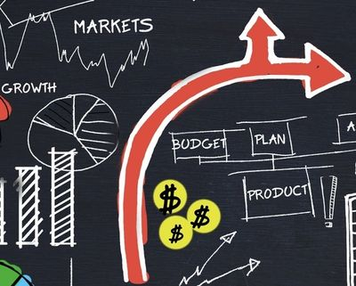 Diagram showing how the markets, budget, plan and product affect growth.