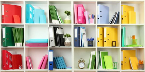 An organized office space where items are easily located and visually pleasing